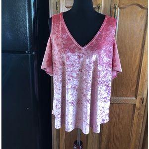 Ana Pink Velvet Cold Shoulder Top Size XL